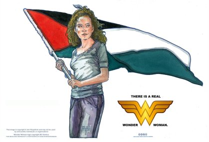 Irish artist Jim Fitzpatrick's image of Ahed Tamimi, with note stating it 'may not be used by anti-Semetic individuals' [Jim Fitzpatrick / jimfitzpatrick.com]
