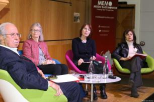 Dr Ghada Karmi, Dr Maria Holt, Dr Salman Abu Sitta and chair Victoria Brittain seen at Middle East Monitor's 'Jerusalem: Legalising the Occupation' conference in London, UK on 3 March, 2018 [Jehan Alfarra/Middle East Monitor]