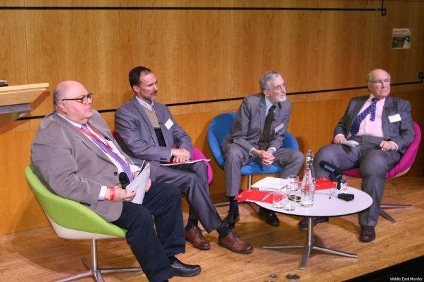 Chair, Prof Kamel Hawwash and panelists, Prof John Quigley, Prof Nicolas Boeglin, and Kevin Chamberlain seen at Middle East Monitor's 'Jerusalem: Legalising the Occupation' conference in London, UK on 3 March, 2018 [Jehan Alfarra/Middle East Monitor]