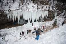 People enjoy the icefall Siklava Skala in Spisska Nova Ves district, Slovakia on 2 March, 2018 [Omar Marques/Anadolu Agency]