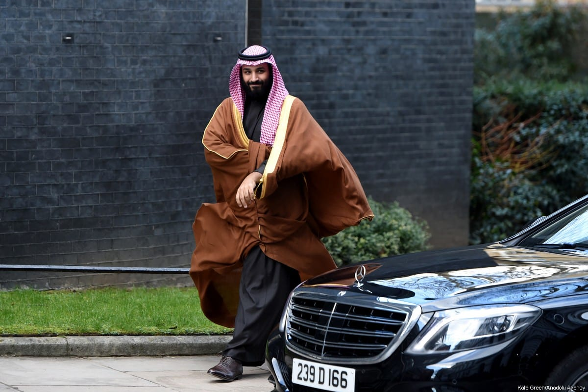 The Crown Prince of Saudi Arabia Mohammad bin Salman Al-Saud arrives at No.10 Downing street in London, UK on 7 March 2018 [Kate Green/Anadolu Agency]