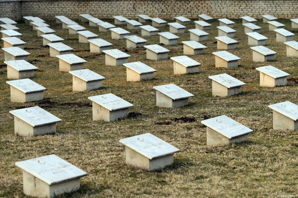 Graves of the Ottoman soldiers who lost their lives in Hungary during the First World War at the Turkish Martyrdom in Budapest, Hungary on 7 March 2018 [Barış ORAL/Anadolu Agency]