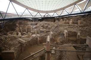 A view of the Potbelly Hill (Gobekli Tepe), which is known as the oldest Temple Center in the UNESCO's World Heritage Tentative List in Sanliurfa, Turkey on 28 February 2018 [Halil Fidan/Anadolu Agency]