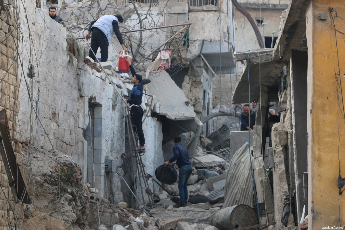 Heavily damaged buildings are seen at a marketplace after the Assad Regime carried out air strikes in Idlib Syria on 23 March 2018 [Ahmed Rahhal/Anadolu Agency]