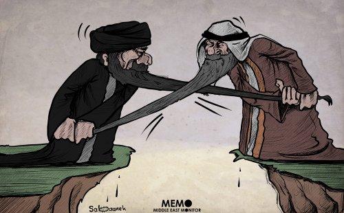 The on-going tensions between Iran and Saudi Arabia - Cartoon [Sabaaneh/MiddleEastMonitor]