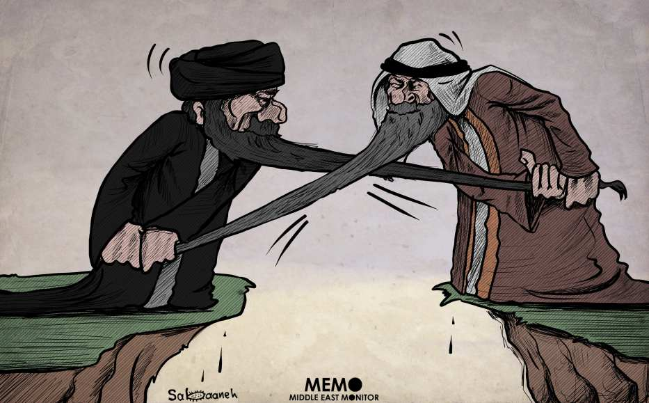 The on-going tensions between Iran and Saudi Arabia - Cartoon [Sabaaneh/MiddleEastMonitor]