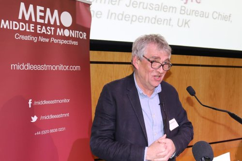 Donald Macintyre at Middle East Monitor's 'Jerusalem: Legalising the Occupation' conference in London, UK on March 3, 2018 [Jehan Alfarra/Middle East Monitor]
