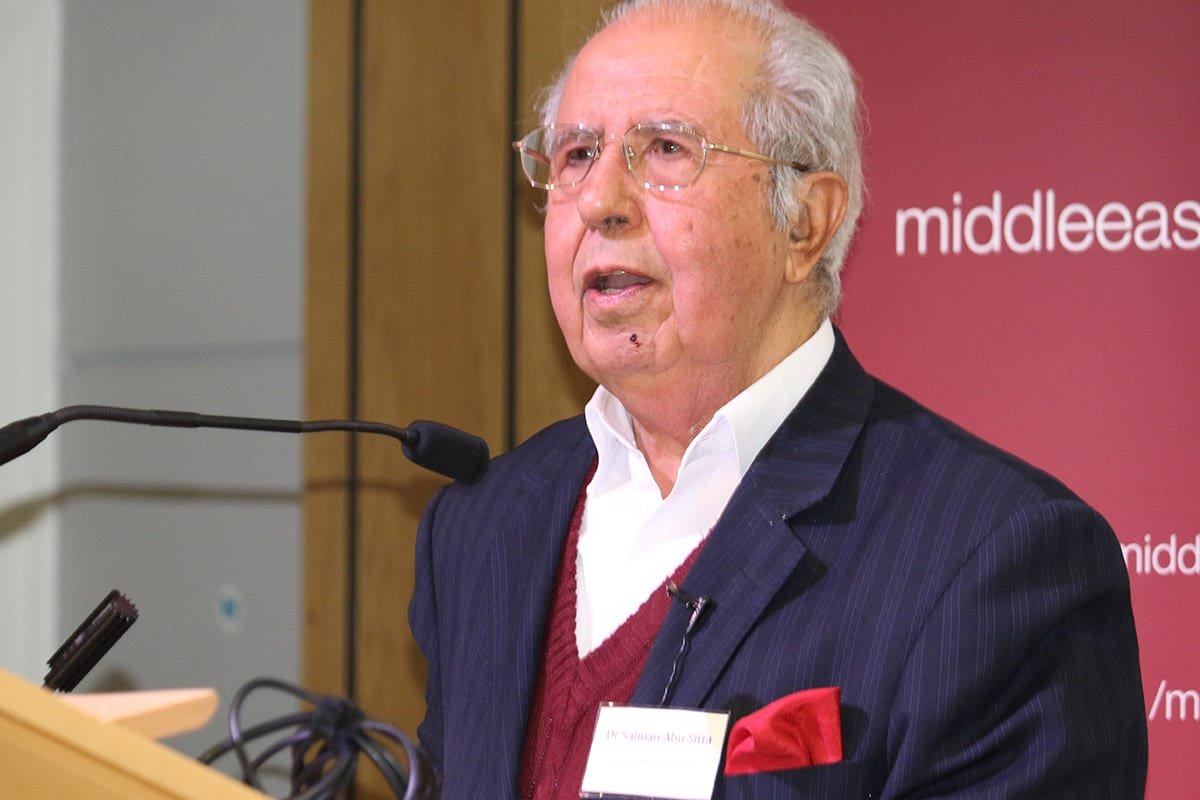 Dr Salman Abu Sitta at Middle East Monitor's 'Jerusalem: Legalising the Occupation' conference in London, UK on March 3, 2018 [Jehan Alfarra/Middle East Monitor]