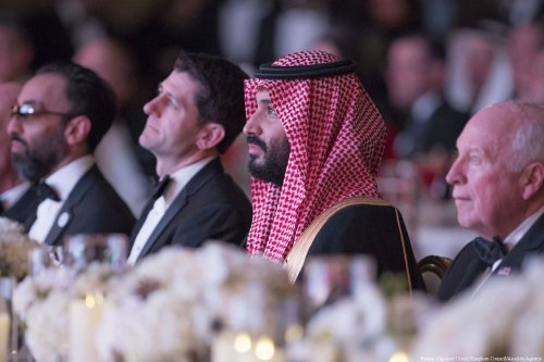 Crown Prince of Saudi Arabia Mohammed bin Salman Al Saud (2nd R) in Washington, United States on 23 March 2018 [Bandar Algaloud/Saudi Kingdom Council/Anadolu Agency]