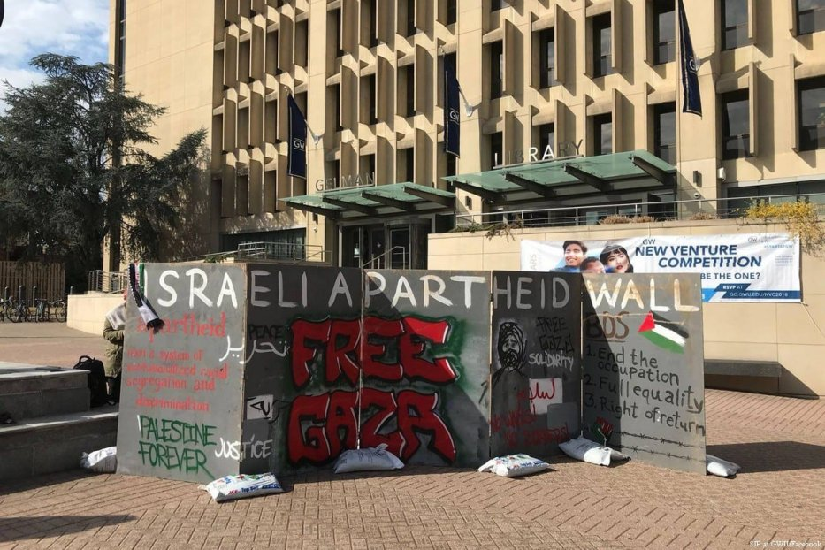 University students get together during Israeli Apartheid Week to showcase the situation in Gaza [SJP at GWU/Facebook]