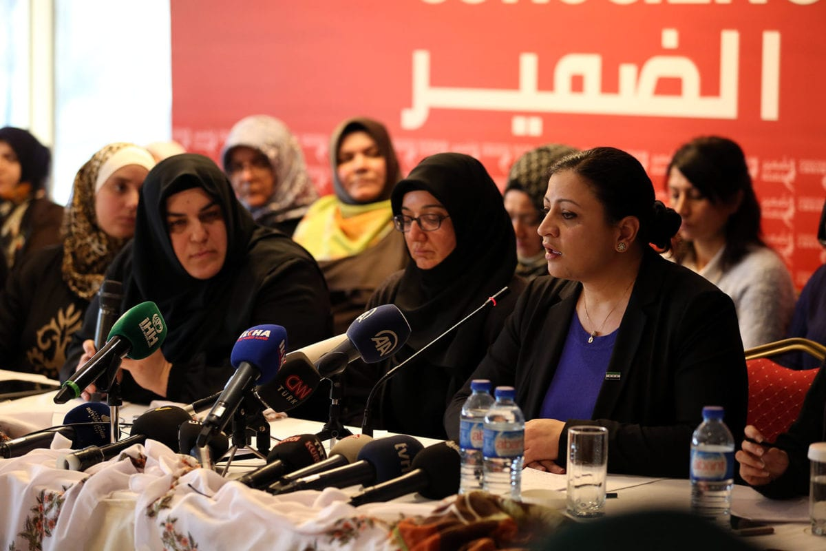 Syrian lawyer Dima Musa seen at a press conference held by the Conscience Convoy in Istanbul, Turkey on March 1, 2018 [ihh.org.tr]