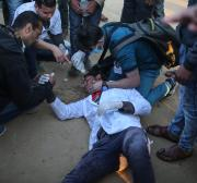 Palestinian medic in Gaza recounts being shot in the leg by Israeli sniper