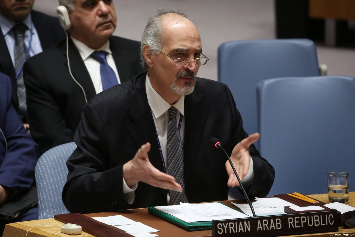 Bashar Al-Jaafari, permanent Representative of the Syrian Arab Republic to the UN in New York, US on 14 April 2018 [Mohammed Elshamy/Anadolu Agency]
