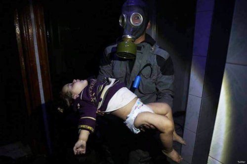Syria's chlorine chemical attack struck the Damascus suburb of Douma on 7 April, 2018 [Twitter]