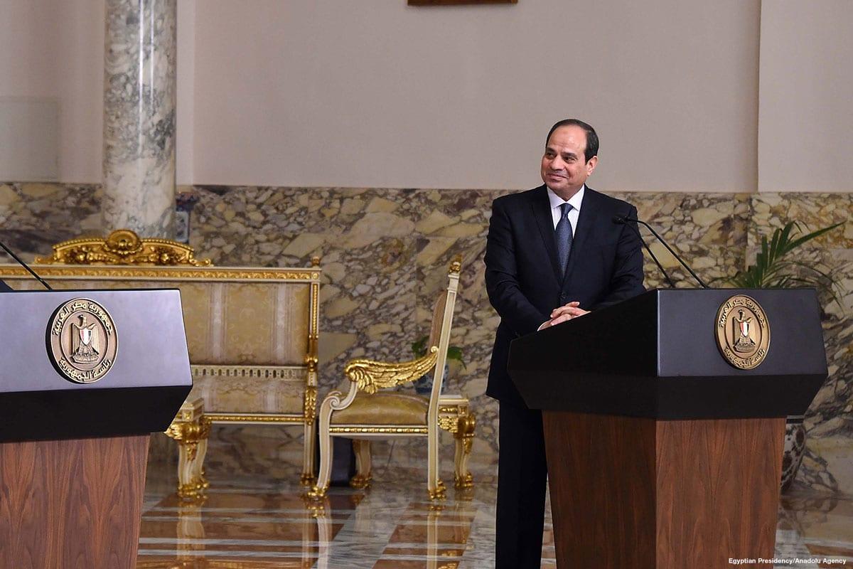 Egyptian President Abdel Fattah Al-Sisi attends a press conference in Cairo, Egypt on 12 April 2018 [Egyptian Presidency/Anadolu Agency]