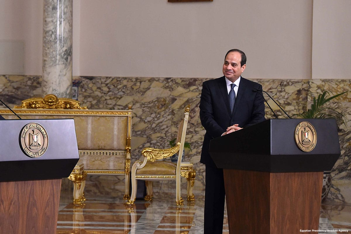 Egyptian President Abdel Fattah Al-Sisi attends a press conference in Cairo, Egypt on 12 April 2018 [Egyptian Presidency/Anadolu Agency]