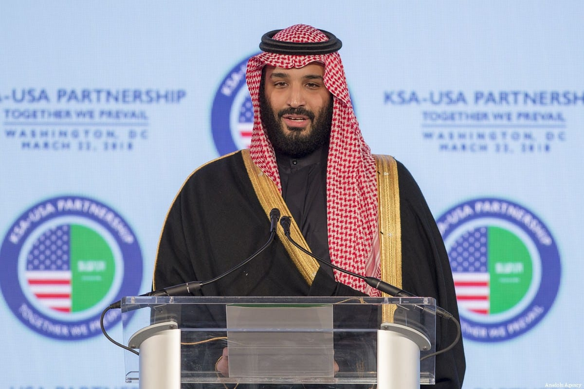 Crown Prince of Saudi Arabia Mohammed bin Salman Al Saud delivers a speech as he attends the Saudi Arabia - United States Partnership Meeting in Washington, United States on 23 March, 2018 [Saudi Kingdom Council Handout/Anadolu Agency]
