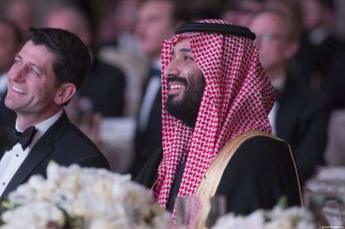 Crown Prince of Saudi Arabia Mohammed bin Salman Al Saud (R) attends the Saudi Arabia - United States Partnership Meeting in Washington, United States on 23 March, 2018 [Bandar Algaloud/Anadolu Agency]