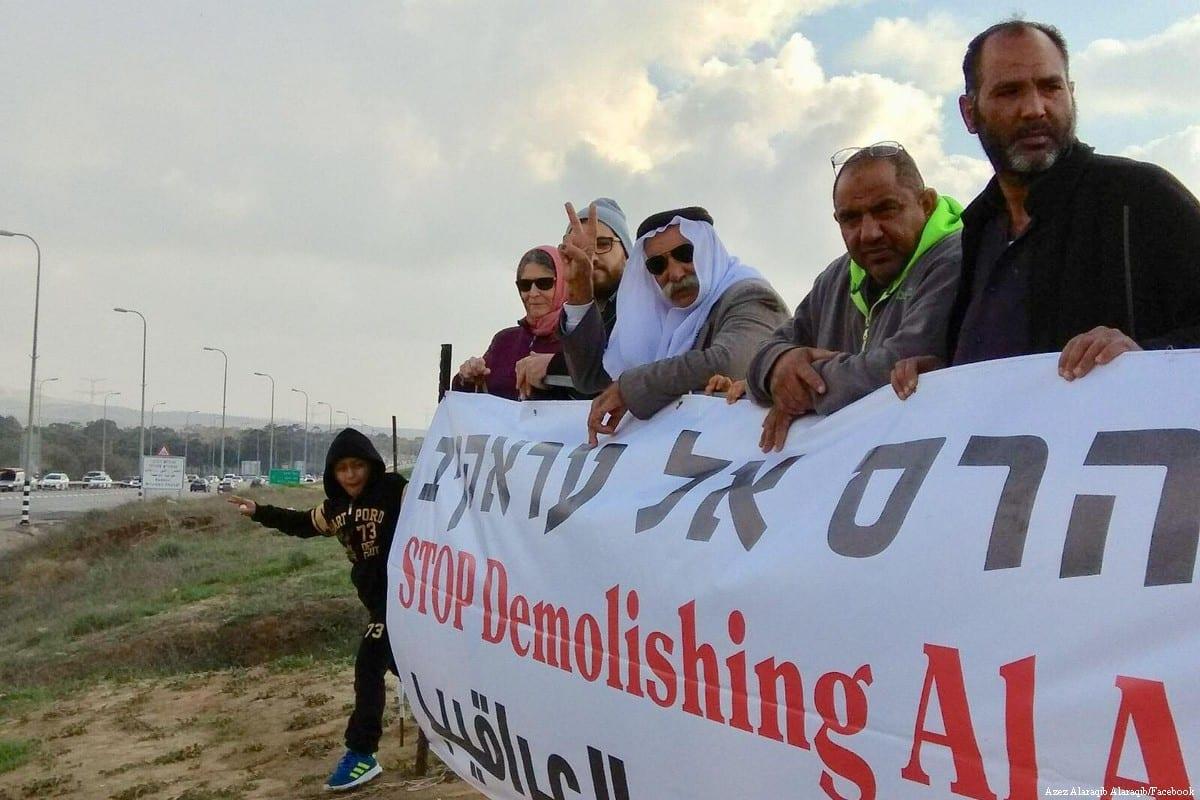 Palestinians come together to protest against the demolition of Al-Araqeeb [Azez Alaraqib Alaraqib/Facebook]