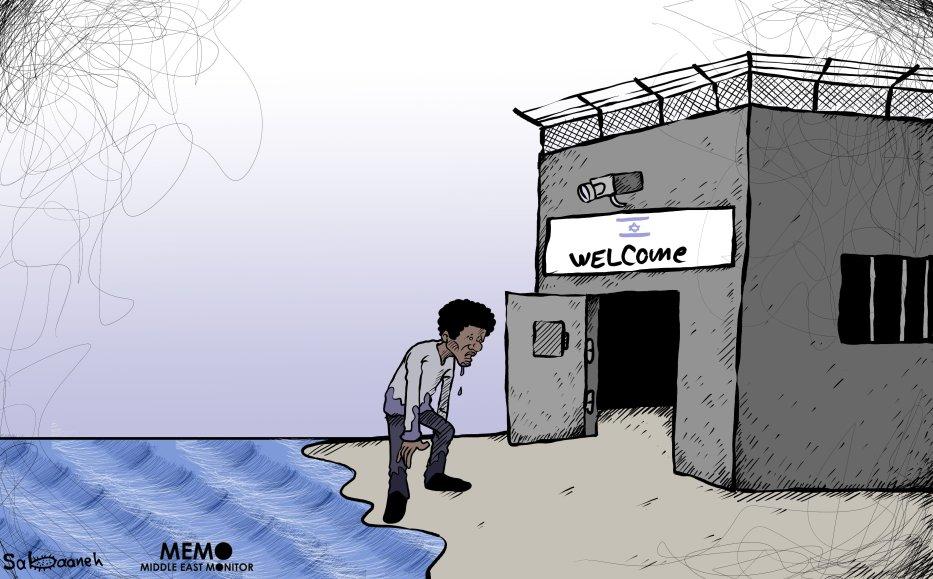 Forced deportation of African asylum seekers by Israel - Cartoon [Sabaaneh/MiddleEastMonitor]