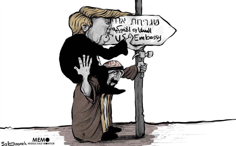 The US embassy move to Jerusalem - Cartoon [Sabaaneh/MiddleEastMonitor]