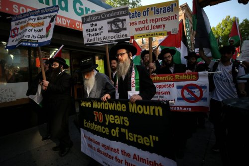 Activists stage a rally condemning the Israeli violence at the Gaza Strip's eastern border in Brooklyn, New York, United States on 14 May, 2018 [Mohammed Elshamy/Anadolu Agency]