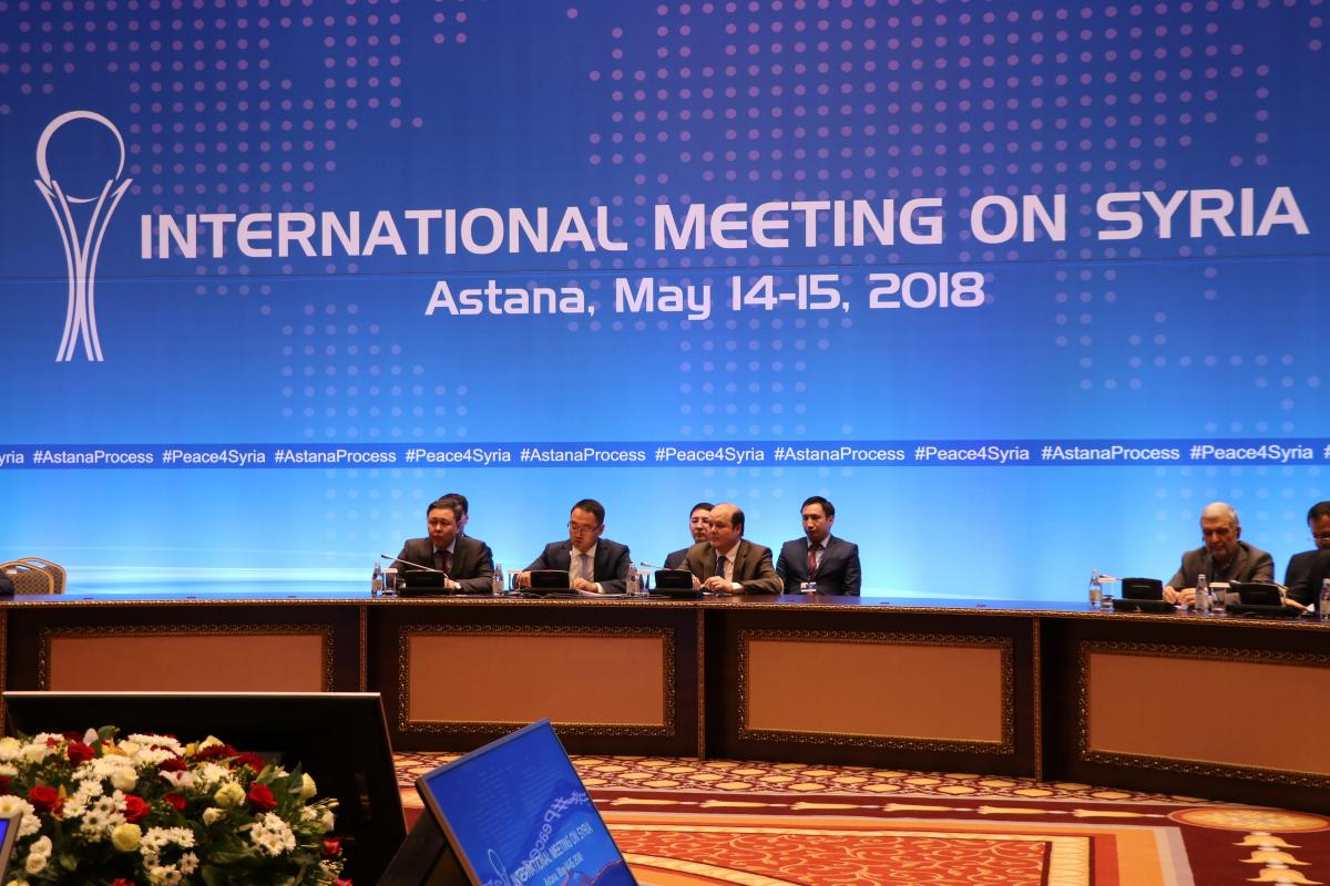 Participants attend the 9th round of Astana talks on Syria, in Astana, Kazakhstan on 15 May, 2018 [Aliia Raimbekova/Anadolu Agency]