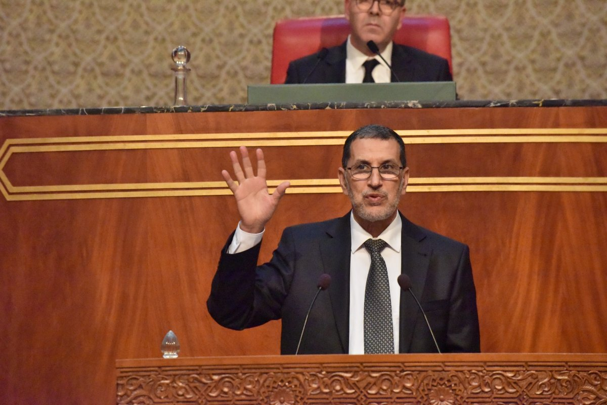 Prime Minister of Morocco Saadeddine Othmani makes a speech during monthly ordinary congress meeting in Rabat, Morocco on 15 May, 2018 [Jalal Morchidi/Anadolu Agency]