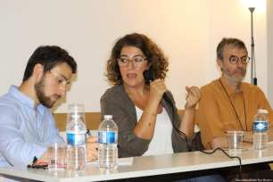 Panel: Financing independent Arab cinema. From left to right; Bastien Gauclère, former audiovisual officer of the French General Consulate in Jerusalem, Rima Mismar Executive Director of European and International Affairs of the Arab Fund for Arts and Culture (AFAC) and Michel Plazanet, Deputy Director of CNC at the Palestinian Film Festival in Paris, France [Jehan Alfarra/Middle East Monitor]