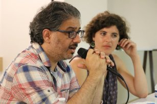 Panel: building the Palestinian film industry and community. Hanna Atallah, Artistic Director, FilmLab: Palestine and Noémi Kahn, Assistant Director of Network of Alternative Screens (NAAS) at the Palestinian Film Festival in Paris, France [Jehan Alfarra/Middle East Monitor]