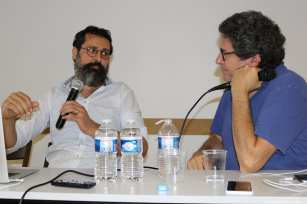 Ossama Bawardi, producer, Philistine Films and Patrick Sobelman, producer, Agat Films & Cie / Ex Nihilo at the Palestinian Film Festival in Paris, France [Jehan Alfarra/Middle East Monitor]