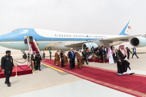 President Donald Trump and First Lady Melania Trump receive a red carpet welcome by King Salman bin Abdulaziz Al Saud of Saudi Arabia and his official delegation, Saturday, May 20, 2017, on their arrival to King Khalid International Airport in Riyadh, Saudi Arabia on May 20, 2017 [Shealah Craighead / The White House]