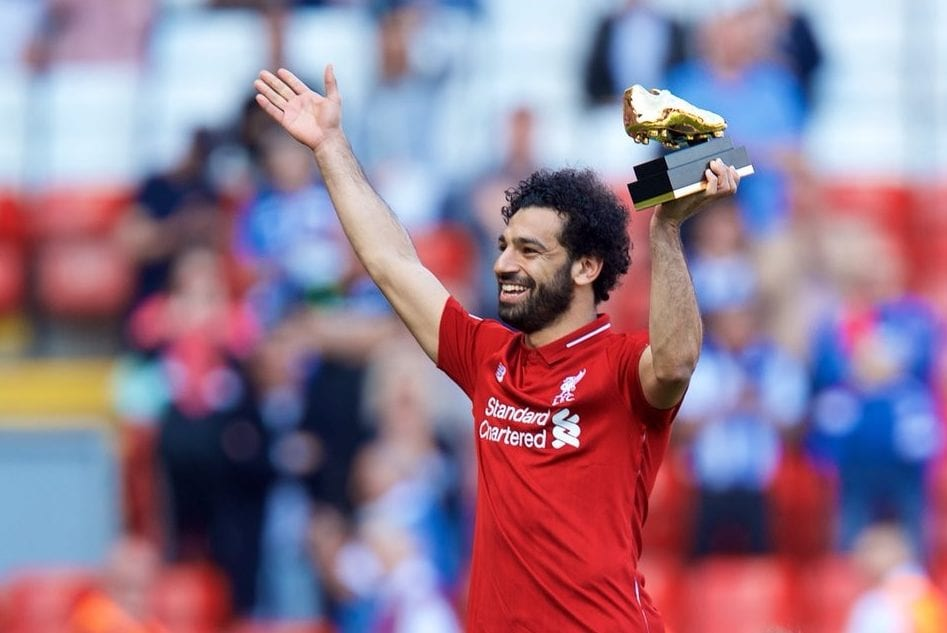 Liverpool striker Mohamed Salah received the Golden Boot after scoring the highest number of goals this season on 13 May 2018 [Mohamed Salah/Twitter]
