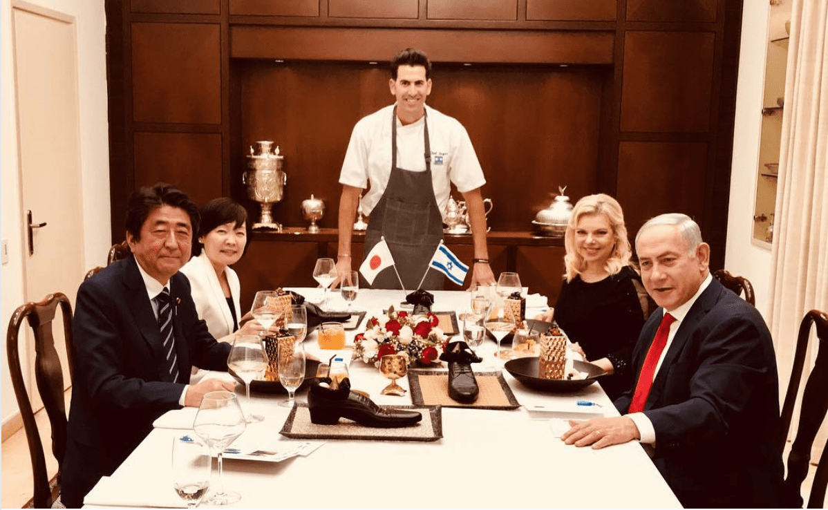 Israeli Prime Minister Netanyahu and his wife having dinner with Japanese Prime Minister Shinzo Abe and his wife [Instagram]