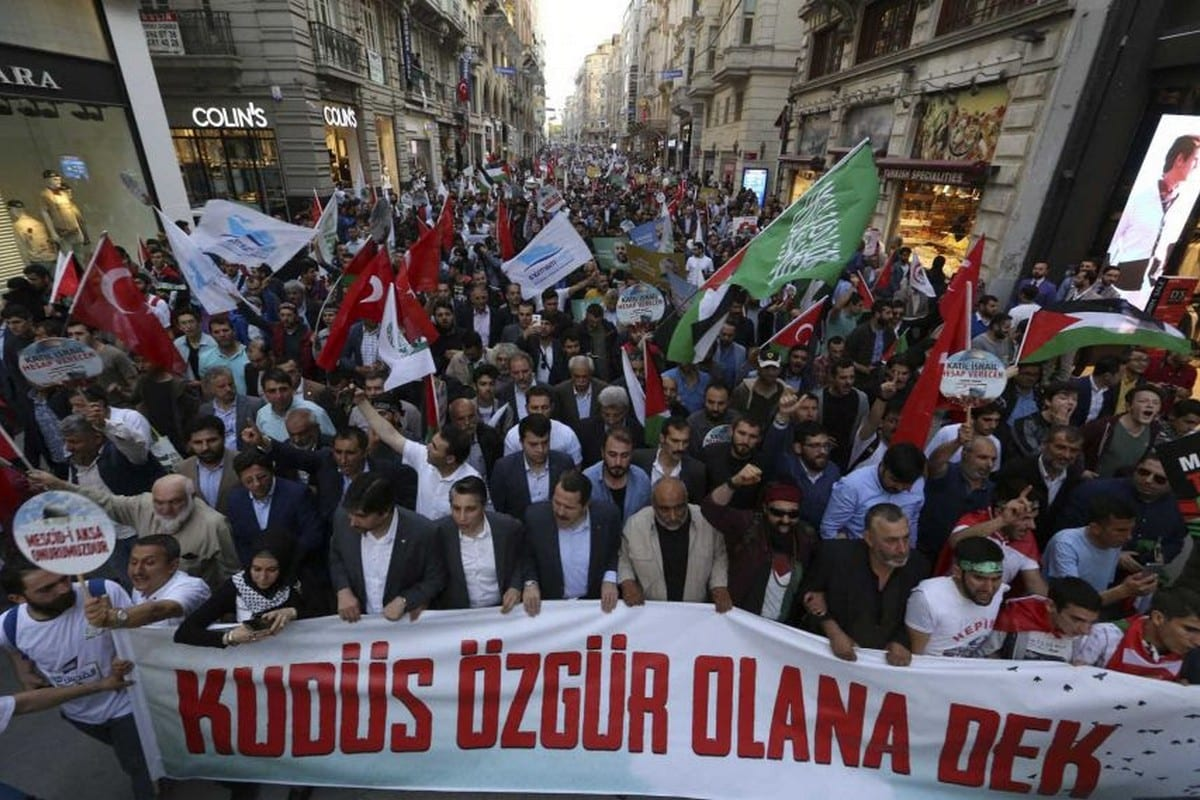 Thousands protested in Turkey on 31 May 2018 in memory of those killed on the Mavi Marmara and in opposition to the US' embassy move to Jerusalem.