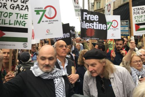 Protestors seen outside the Israeli embassy in London, gathered to protest the 70th anniversary of the Nakba on May 11, 2018 [supplied]
