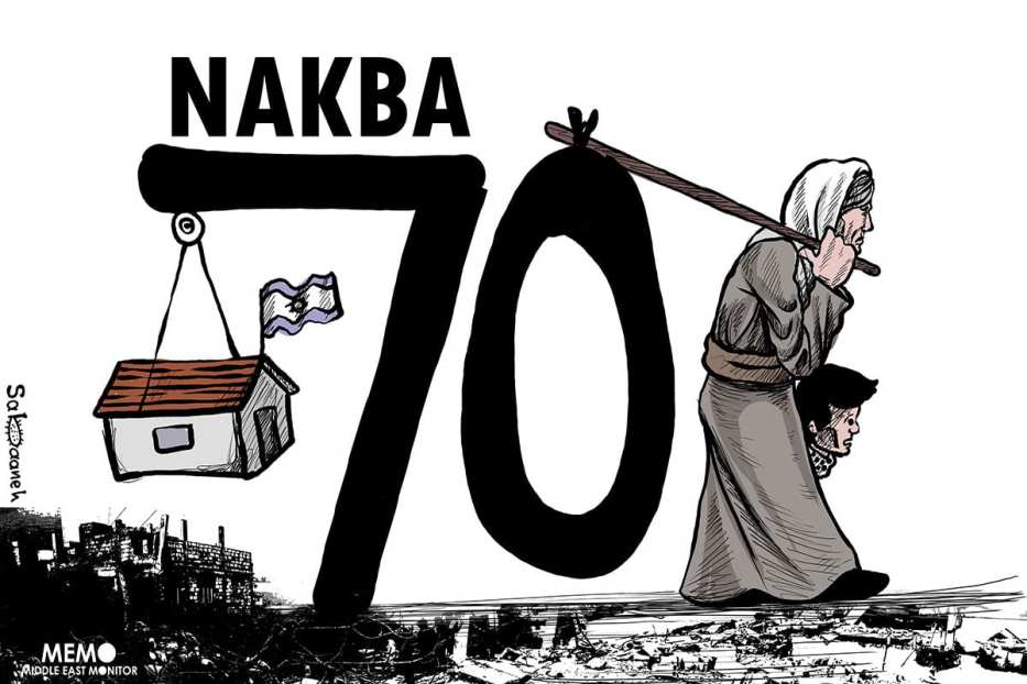 The 70th anniversary of the Nakba - Cartoon [Sabaaneh/MiddleEastMonitor]