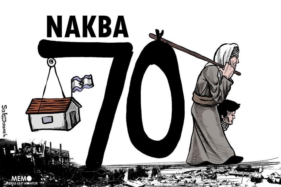 The 70th anniversary of the Nakba - Cartoon [Sabaaneh/MiddleEastMonitor]