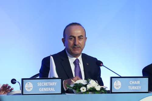 Turkish Foreign Minister Mevlut Cavusoglu attends the Extraordinary summit of the Organization of Islamic Cooperation (OIC) at the Bomonti Hilton Hotel in Istanbul, Turkey on 18 May, 2018 [Arif Hüdaverdi Yaman/Anadolu Agency