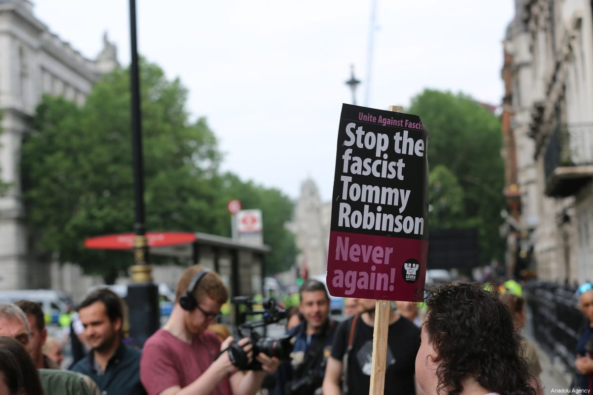 People attend a rally in support of British far-right activist Tommy Robinson, in Whitehall, central London, Britain, 9 June 2018 [Tayfun Salcı/Anadolu Agency]