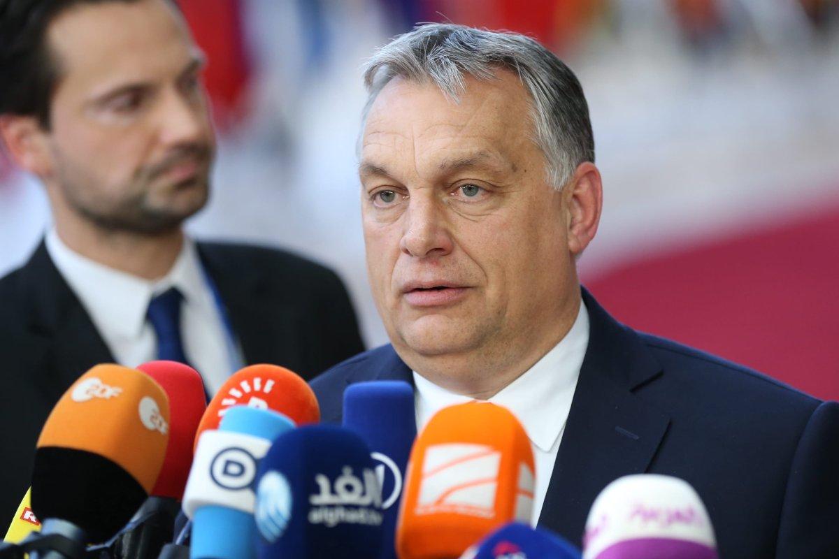Prime Minister of Hungary Viktor Orban speaks to journalists before entering the meeting hall during the EU Leaders summit in Brussels, Belgium, 28 June 2018 [Dursun Aydemir/Anadolu Agency]