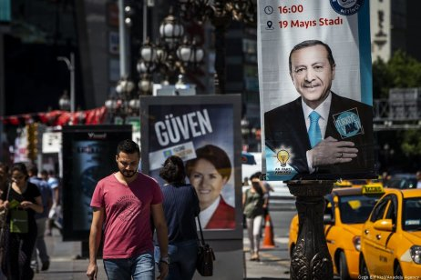 Campaign posters of presidential candidates are seen at Kizilay square in Ankara, Turkey on 13 June 2018 [Özge Elif Kızıl/Anadolu Agency]