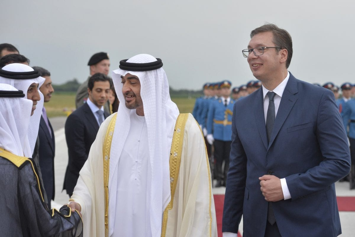 The Crown Prince of Abu Dhabi, Shaikh Mohammed Bin Zayed Al-Nahya seen with President of Serbia, Aleksandar Vučić, during the former's trip on Serbia on June 21, 2017 [Screengrab / indeksonline.rs]