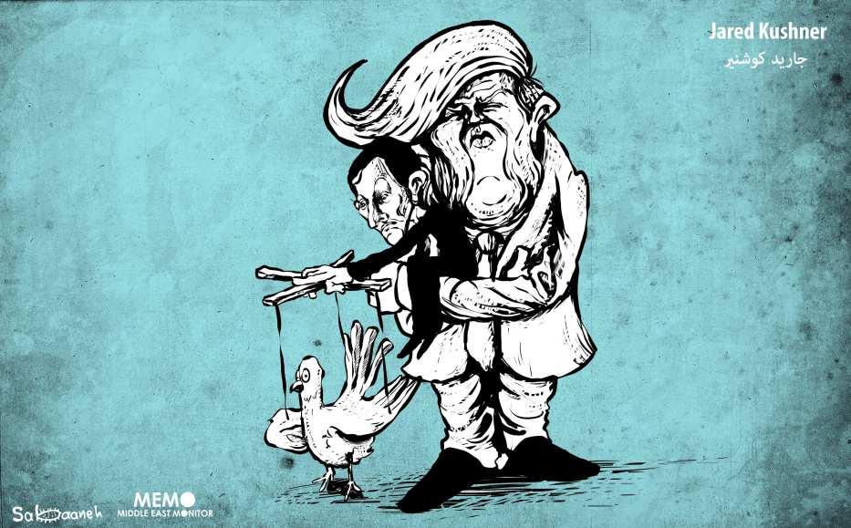 Jared Kushner Peace Process or Puppet Show? - Cartoon [Sabaaneh/MiddleEastMonitor]