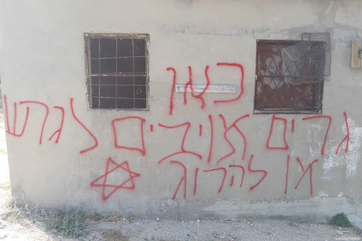 Israeli settlers sprayed racist graffiti slurs in Nablus [YeshDin/Twitter]