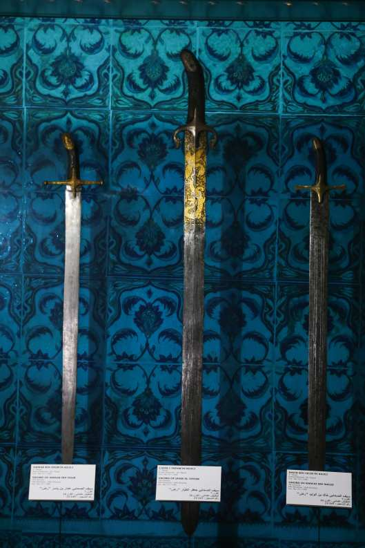 Swords amongst Sacred Trusts are displayed at Topkapi Palace on 3 July, 2018 in Istanbul, Turkey [Salih Zeki Fazlıoğlu/Anadolu Agency]