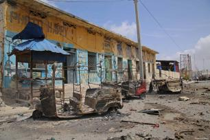 Bomb laden car attack by al-Shabab militants leave the street damaged in front of Interior Ministry in Mogadishu, Somalia on July 07, 2018 [Sadak Mohamed / Anadolu Agency]