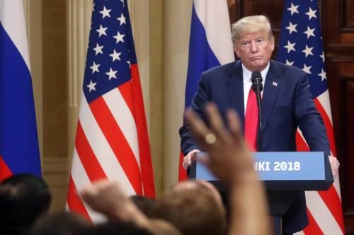 U.S. President Donald Trump speaks during a joint press conference with Russia's President Vladimir Putin (not seen) after their bilateral meeting in Helsinki, Finland on 16 July, 2018 [Stringer/Anadolu Agency]