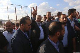 Hamas' Ismael Haniyeh seen seen at the Gaza-Israel border on July 20, 2018 [Mohammad Asad / Middle East Monitor]