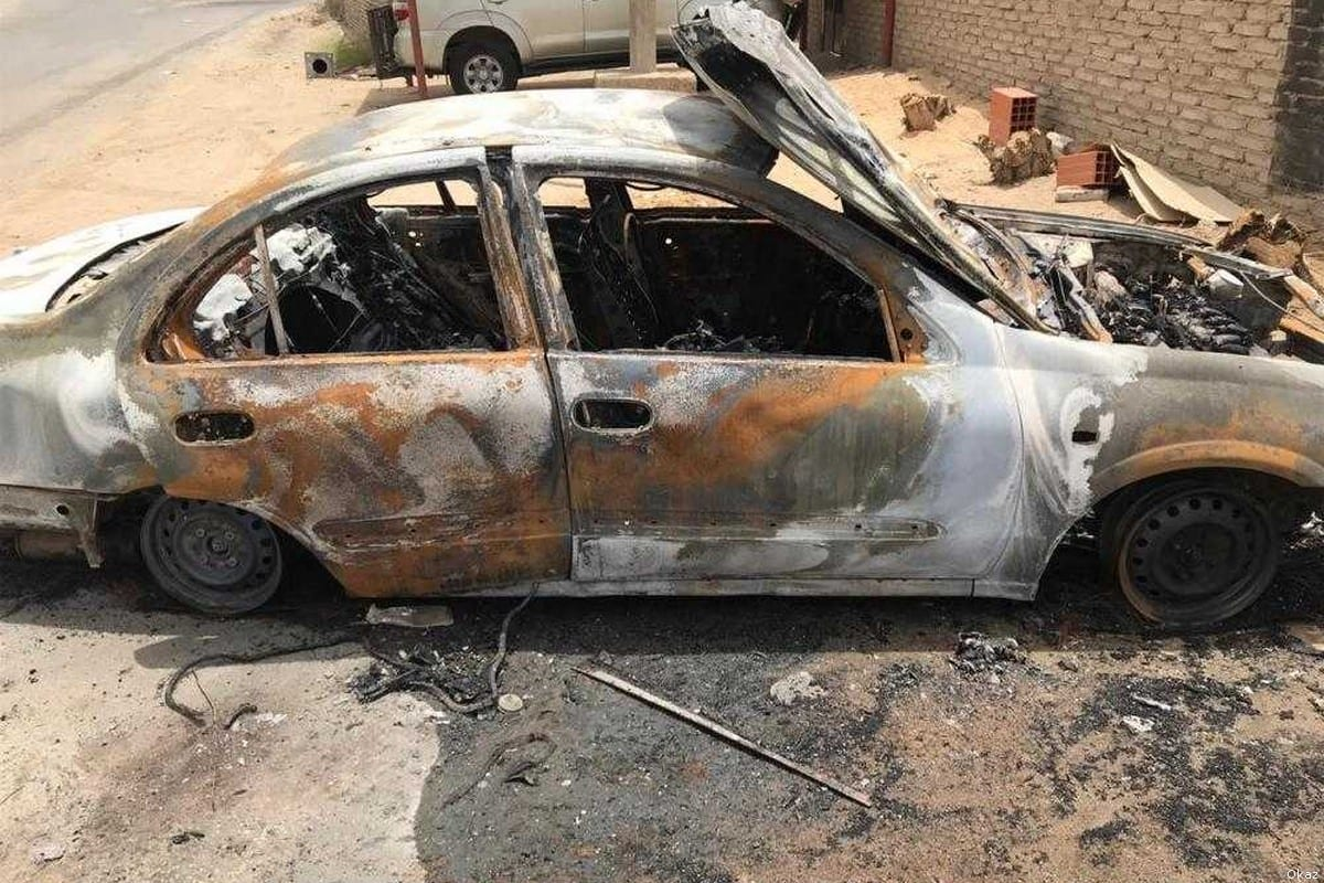 A car belonging to a Saudi woman was set on fire by a group of men [Okaz]